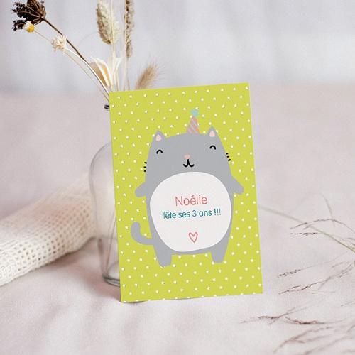 carte invitation anniversaire fille chat surprise