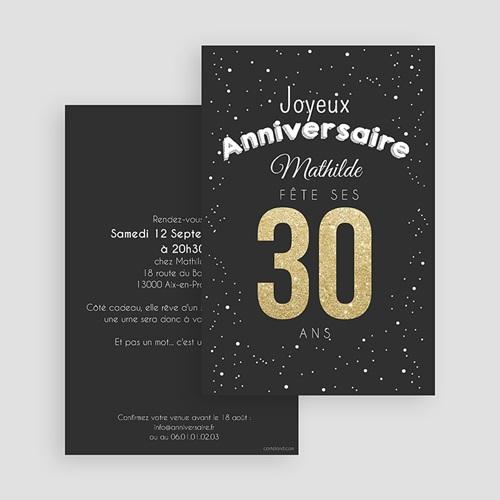carte invitation anniversaire adulte 30 ans dores