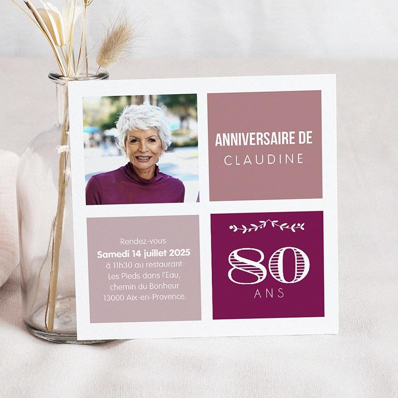 Carte Invitation Anniversaire 80 Ans Echantillon Offert Carteland