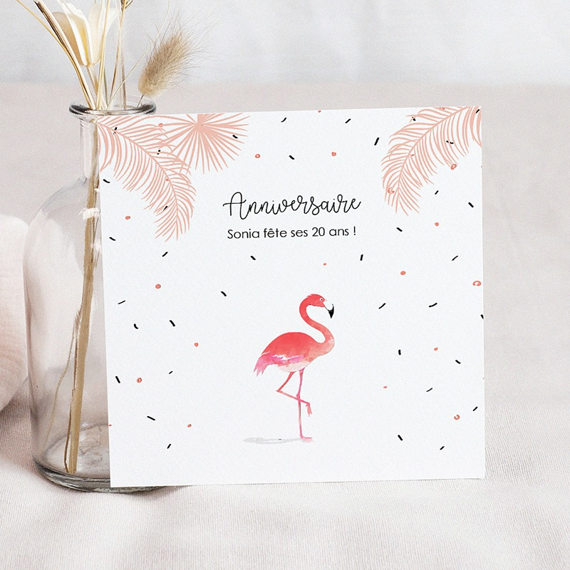 carte invitation anniversaire adulte flamant rose fiesta
