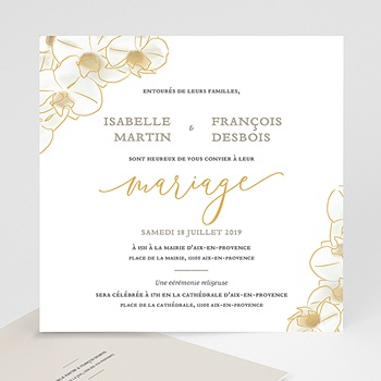 faire part mariage traditionnel orchidees dorees