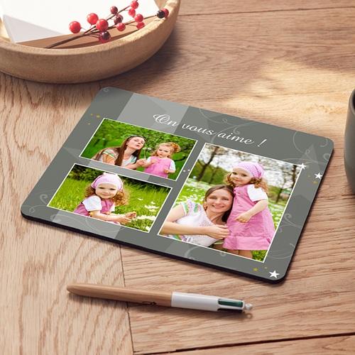 tapis de souris personnalise photo photo decoree gris