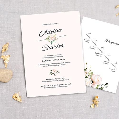 faire part mariage champetre romantique kraft 3 cartes
