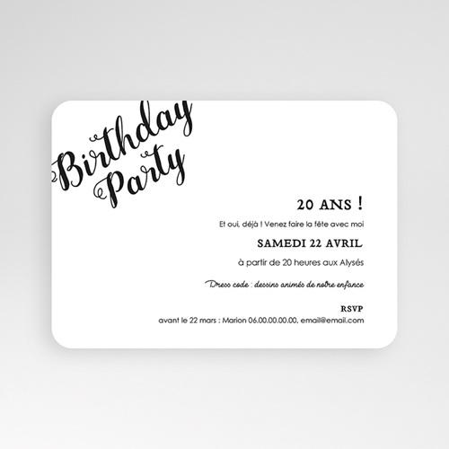 carte invitation anniversaire 20 ans birthday dorure photo 16 7 x 12