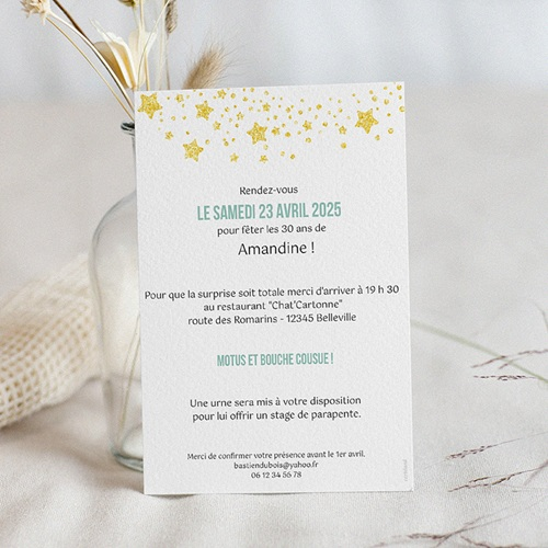 carte invitation anniversaire 30 ans 30 ans festive vernis 3d
