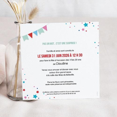 carte invitation anniversaire 80 ans cirque 80 ans vernis 3d carre simple