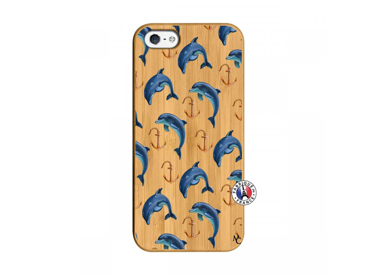coque bois iphone 5 5s se dauphins pattern dauphins master case