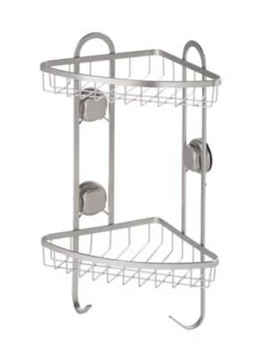 etagere d angle de douche tenno avec ventouse acier chrome et abs goodhome
