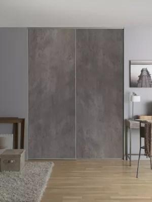 2 portes de placard coulissantes decor aspect beton 120 x 250 cm
