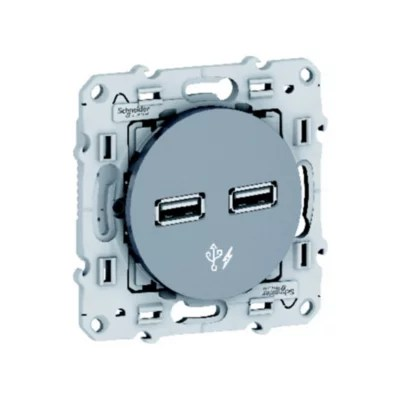Prise 2 Poles Schneider Electric Odace Aluminium Castorama