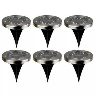 6 Spot Exterieur Led Integree A Energie Solaire 0 04w Ip65 13 5x11 7cm Noir Castorama