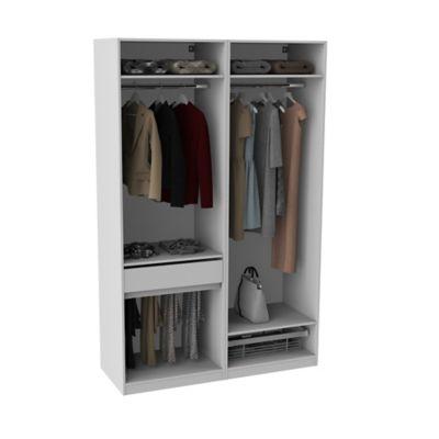 armoire darwin 1 tiroir l 150 cm x p 56 cm x h 235 cm coloris blanc