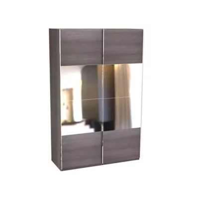 armoire darwin 6 tablettes avec portes coulissantes l 150 cm x p 56 cm x h 235 cm coloris chene cendre