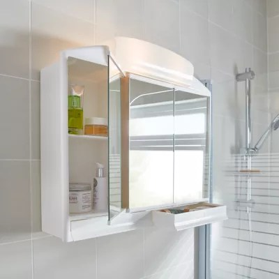 Armoire De Salle De Bains Toeda Miroir Eclairant L 58 6 X H 51 2 X P 14 2 Cm Castorama