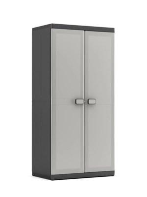 armoire haute resine noir anthracite 3 tablettes xl h 182 x l 89 cm logico