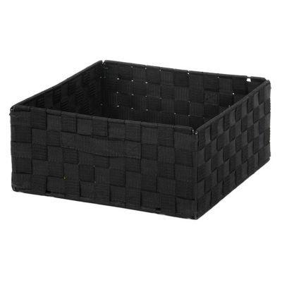 boite de rangement rectangulaire en tissu tresse mixxit coloris noir