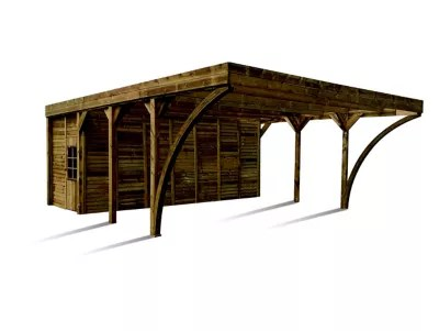 carport avec remise double bois madeira aymar ldd