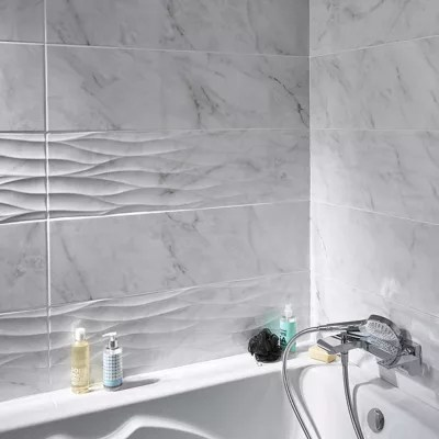 carrelage mur decor blanc brillant effet marbre 25 x 90 cm basento