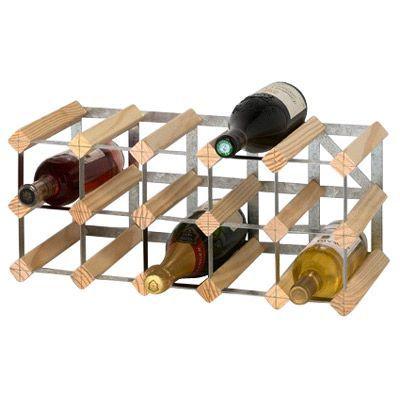 casier 15 bouteilles en bois et metal galvanise