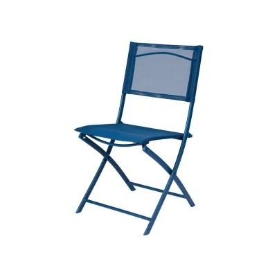 chaise de jardin en metal et toile goodhome saba bleu