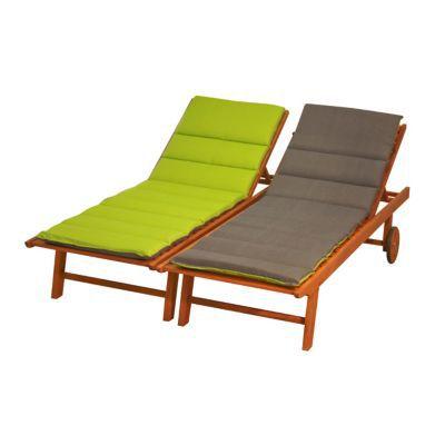 coussin bain de soleil futon vert et gris