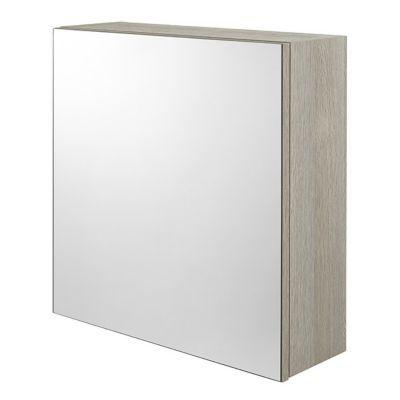 cube mural de salle de bains avec miroir aspect chene clair cooke lewis calao 50 cm