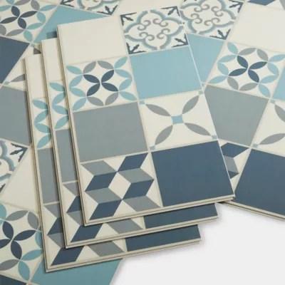 Dalle Pvc Clipsable Carreaux De Ciment Bleus Jazy 30 X 60 Cm Vendue Au Carton Castorama