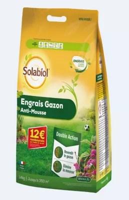 Engrais Gazon Anti Mousse Solabiol 350m Castorama