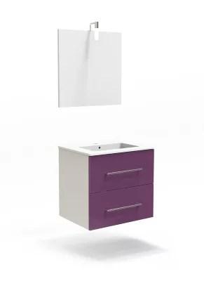 ensemble de salle de bains cooke lewis volga 60 cm aubergine meuble plan vasque miroir