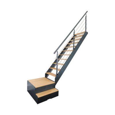 escalier 1 4 tournant droit gauche avec rangement metal bois spark led 13 marches chene