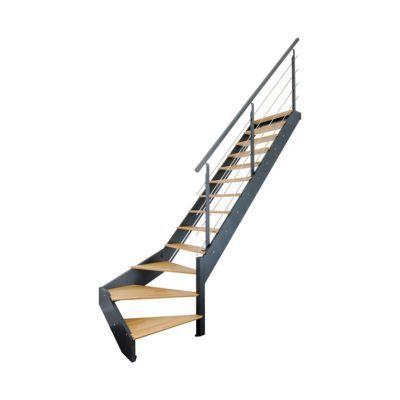 escalier 1 4 tournant droit metal et bois spark led 13 marches chene