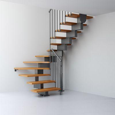 escalier en u metal et bois magia 90 l 70 cm 11 marches gris fonte clair