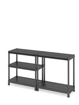 etagere plastique noir 5 tablettes links l 90 x h 182 x p 45 cm