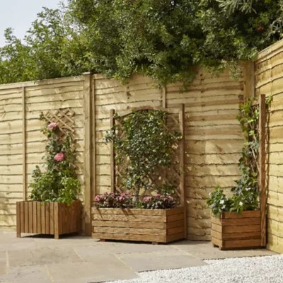 Jardiniere Avec Treillis Bois Blooma Bopha Marron 90 X 35 X H 140 Cm Castorama