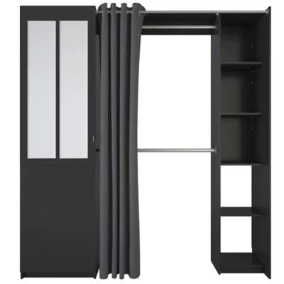 kit dressing atelier coloris noir h 218 3 x l 200 6 x p 50 9 cm