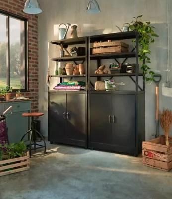 lot 1 etagere 1 armoire basse en metal coloris noir