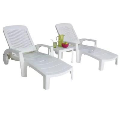 lot 2 bains de soleil table basse en resine blanc