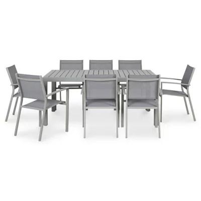 lot table de jardin blooma baldi 6 fauteuils de jardin aluminium et toile