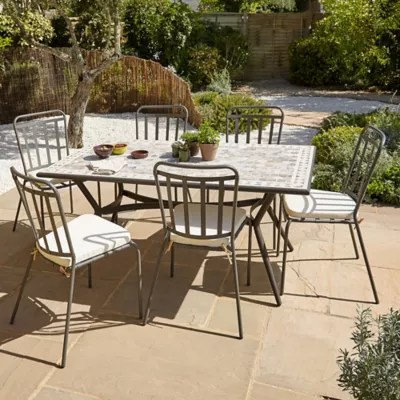 lot table de jardin metal et marbre sofia 4 chaises de jardin sofia 4 galettes de chaise sofia