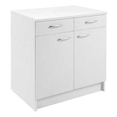 meuble bas 2 portes 2 tiroirs blanc primalight 80 cm plan de travail