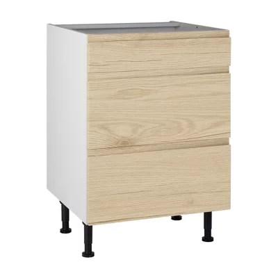 meuble de cuisine epura beige facade 1 tiroir 2 casseroliers caisson bas l 60 cm