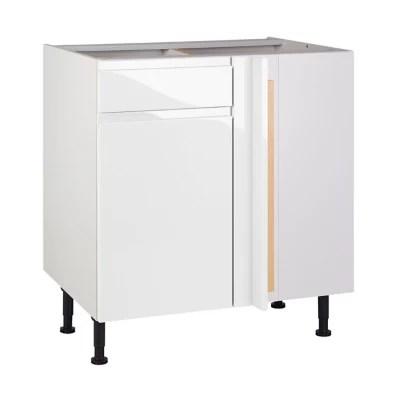 meuble de cuisine epura blanc d angle facade 1 porte 1 tiroir kit fileur caisson bas l 80 cm