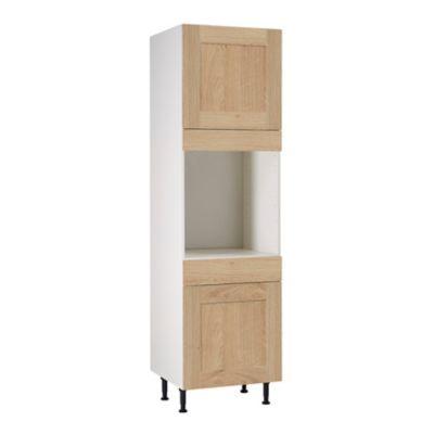 meuble de cuisine kadral bois facades 2 porte 1 tiroir bandeau four caisson colonne l 60 cm