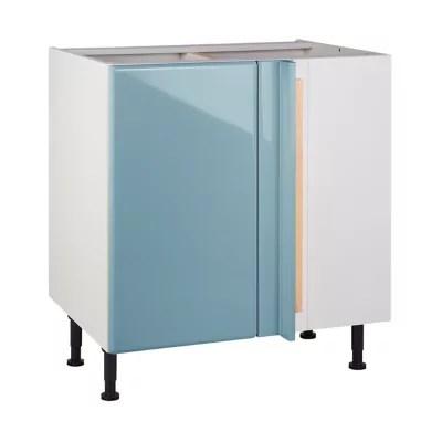 Meuble De Cuisine Sixties Bleu D Angle Facade 1 Porte 1 Tiroir Kit Fileur Caisson Bas L 80 Cm Castorama