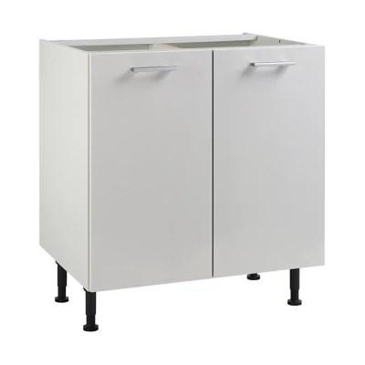 meuble de cuisine spicy blanc facades 2 portes caisson bas l 80 cm