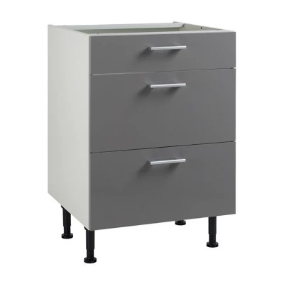 meuble de cuisine spicy gris facade 1 tiroir 2 casseroliers caisson bas l 60 cm