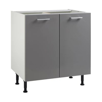 meuble de cuisine spicy gris facades 2 portes caisson bas l 80 cm