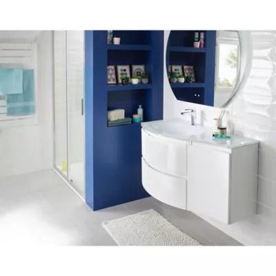 meuble sous vasque cooke lewis blanc vague 104 cm complement droit plan vasque en verre