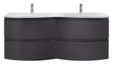 meuble sous vasque cooke lewis gris anthracite vague 138 cm plan double vasque en verre