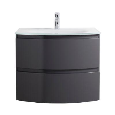 Meuble Sous Vasque Cooke Lewis Gris Anthracite Vague 70 Cm Plan Vasque En Resine Castorama
